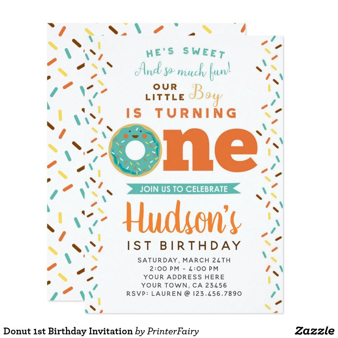 Image Result For 1st Birthday Donut Invitations 1st Birthday Invitations Birthday Invitations First Birthday Invitations
