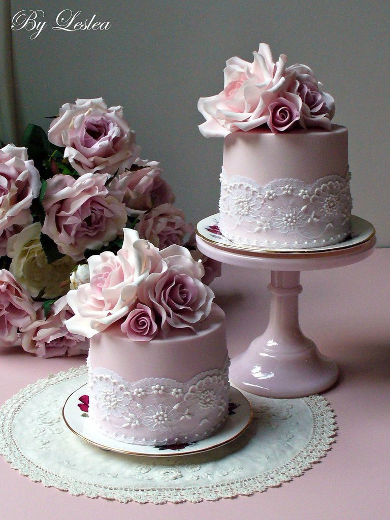 Roses and lace sugar paste cake and fruit cakes