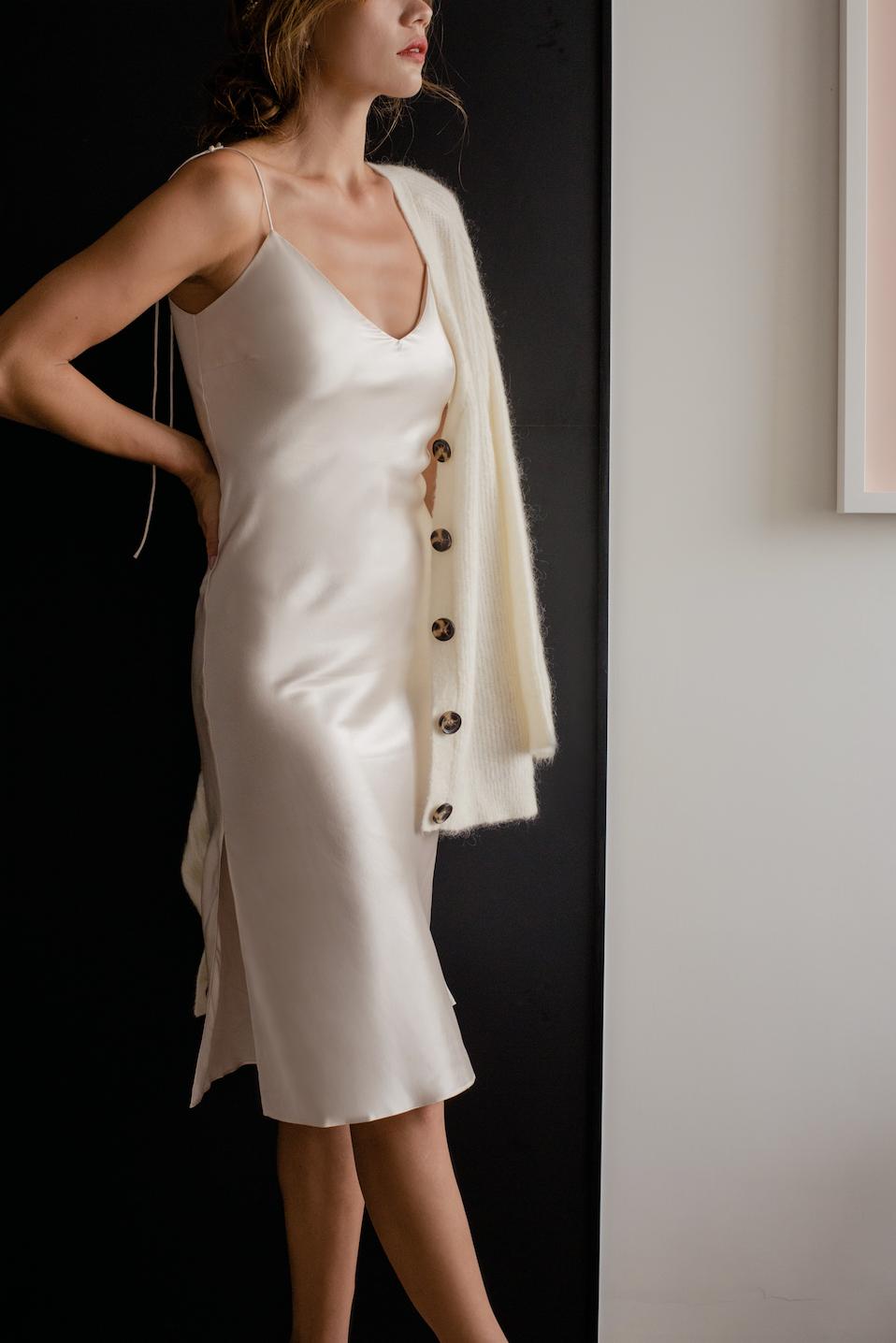 fe1d9d376a57 Silk slip | Silk dress layering | White silk dress | Elegant silk dress |  Elegant slip dress | Slip dress outfit ideas fall | Silk slip dress midi |  White ...