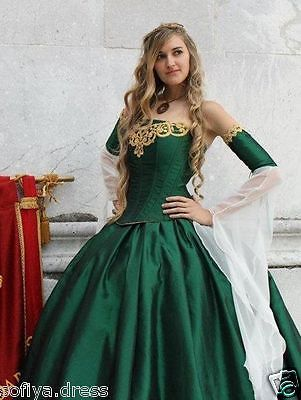 Custom Medieval Green Wedding Dresses Palace Princess Bridal Ball Gown  Appliques 6e56bf22a9e9