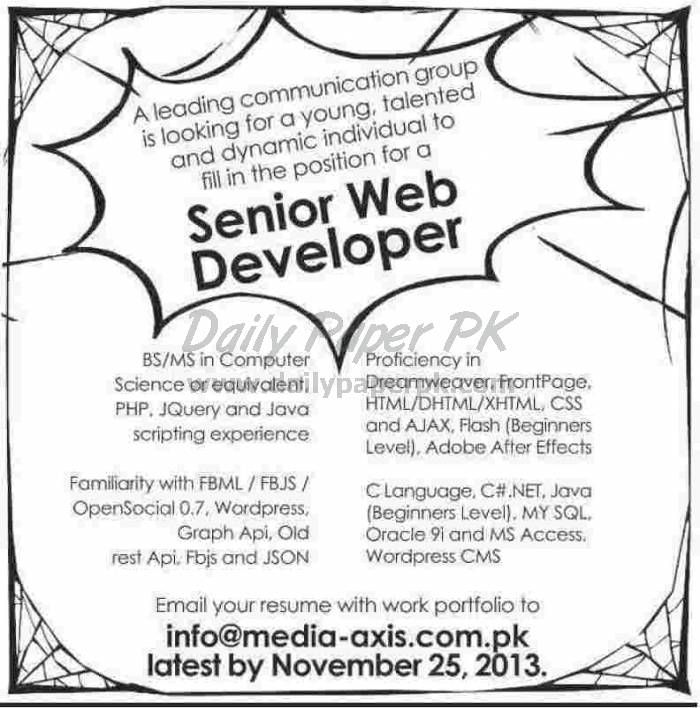 Senior Web Developer Jobs in Leading Commercial Group For details and how to apply: http://www.dailypaperpk.com/jobs/200142/senior-web-developer-jobs-leading-commercial-group