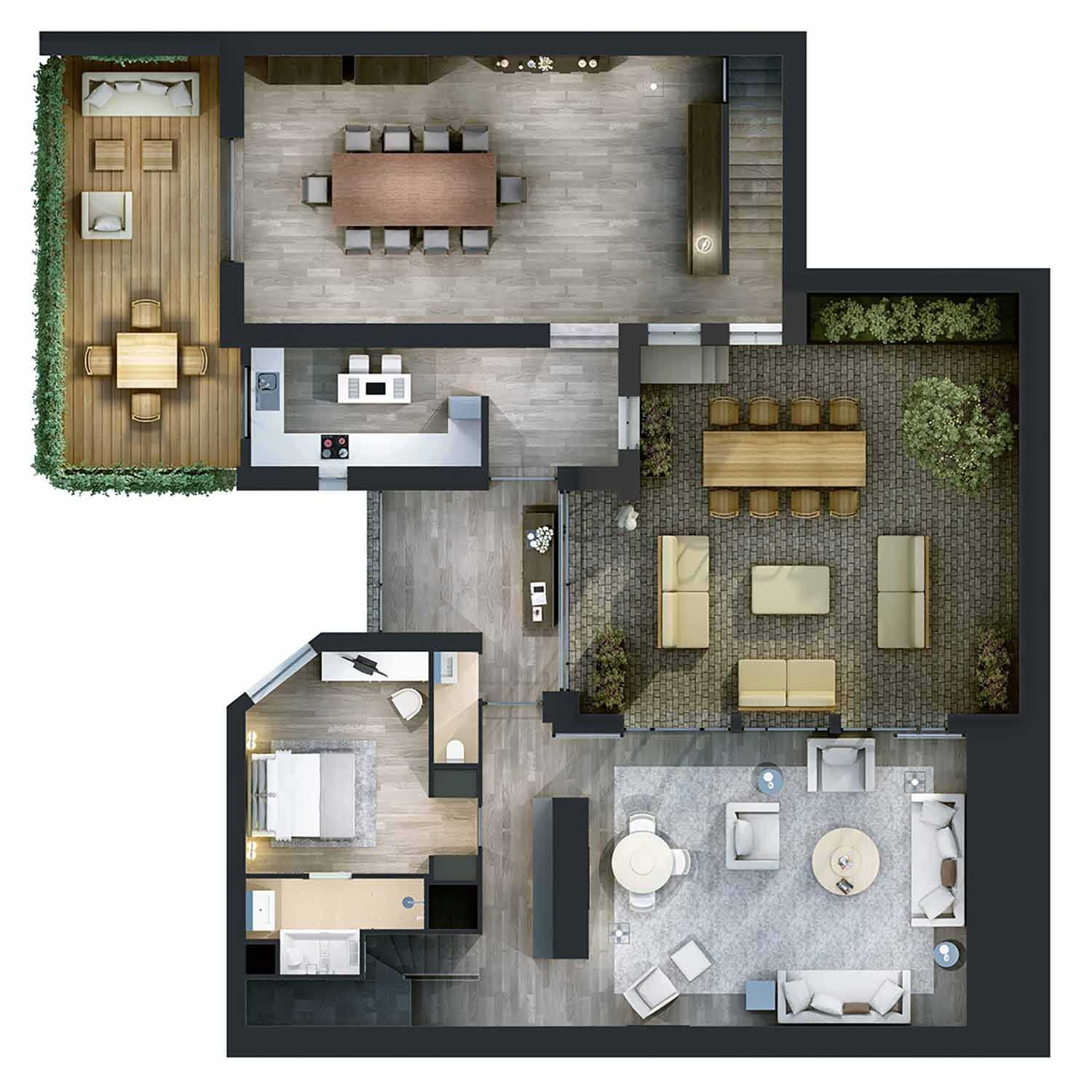 Plan 3d de vente pour l 39 am nagement d 39 une villa for Amenagement interieur 3d