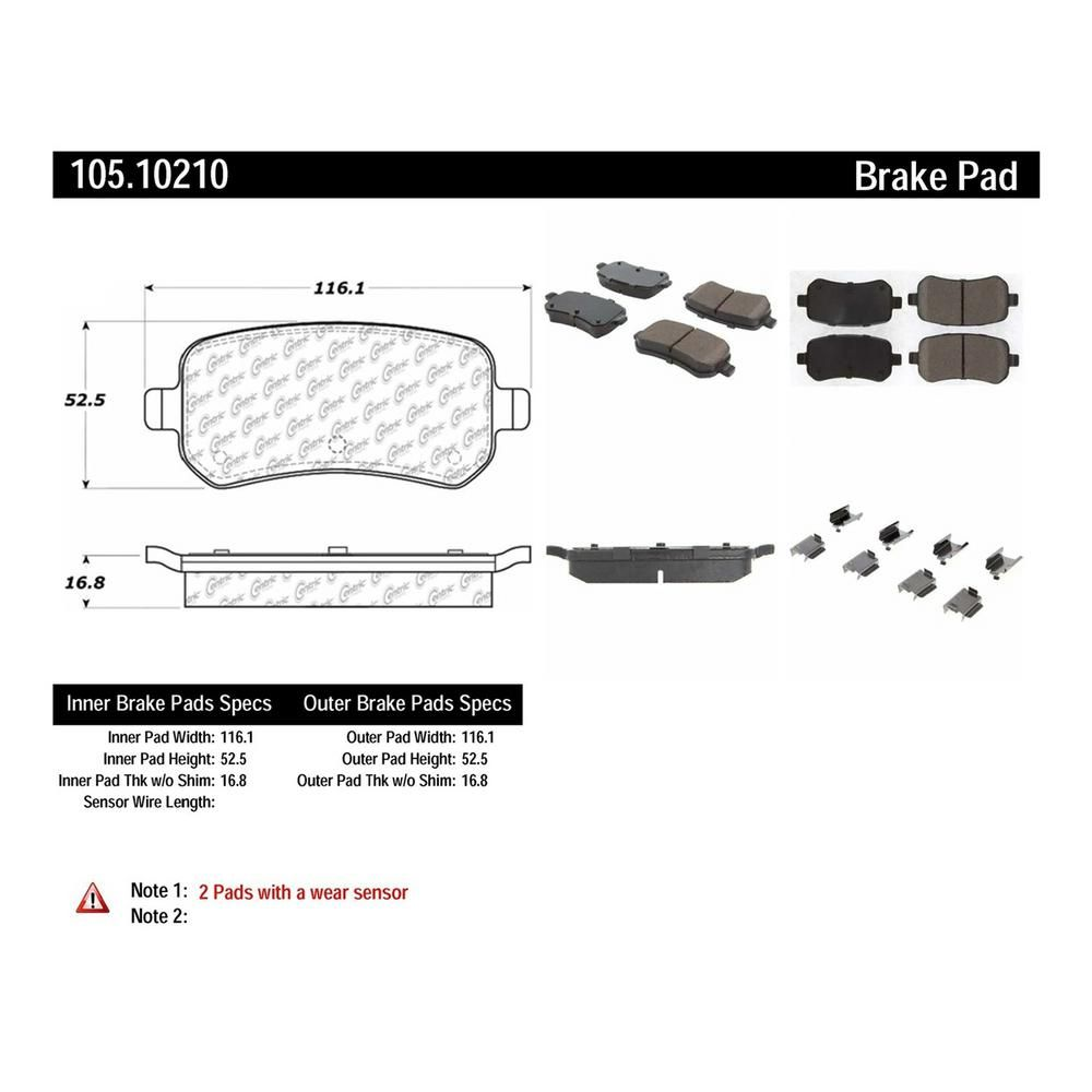 centric parts rear posi quiet ceramic disc brake pad w shims hardware preferred fits 2009 2012 volkswagen routan [ 1000 x 1000 Pixel ]