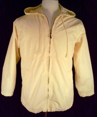 Tommy Bahama Womans Size M Light Jacket Yellow Hood Lined Zipper Pockets