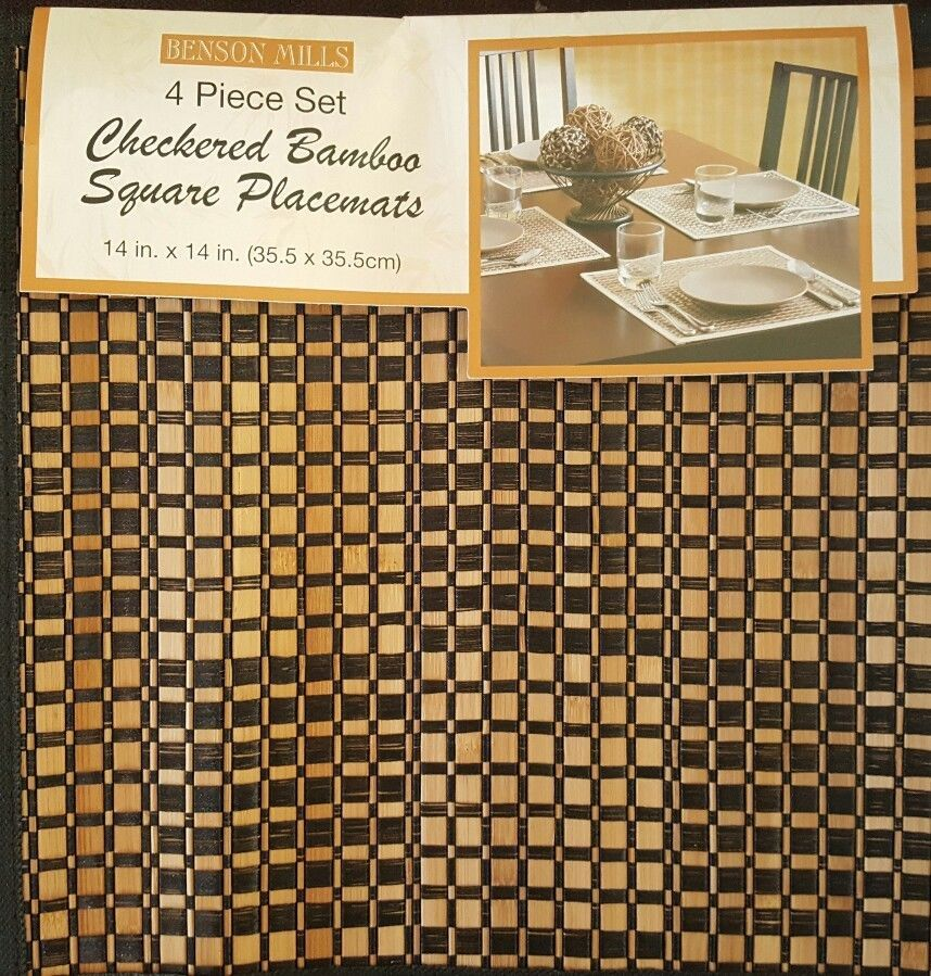 BENSON MILLS Bamboo Square Placemat Checkerboard Table Protector Set Of 4  #BensonMills