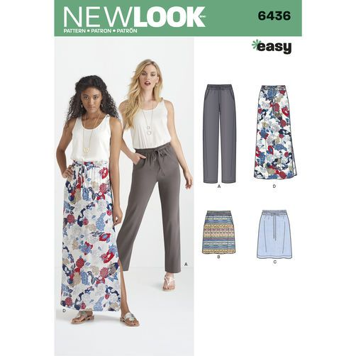New Look Pattern 6436 Misses\' Skirts in Three Lengths, and Pants ...