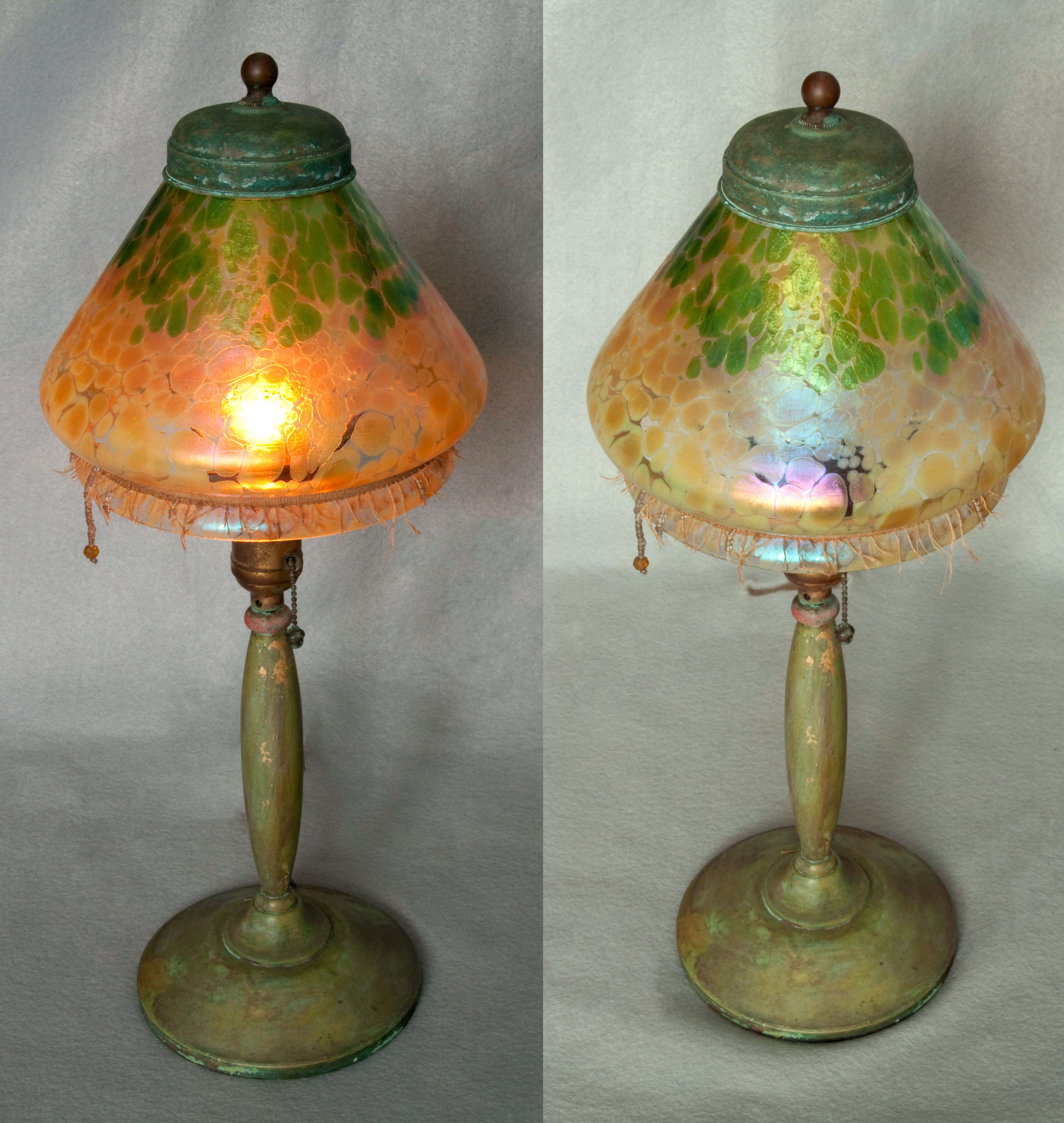 Bohemian Art Nouveau Lamps With Art Glass Shades Possibly