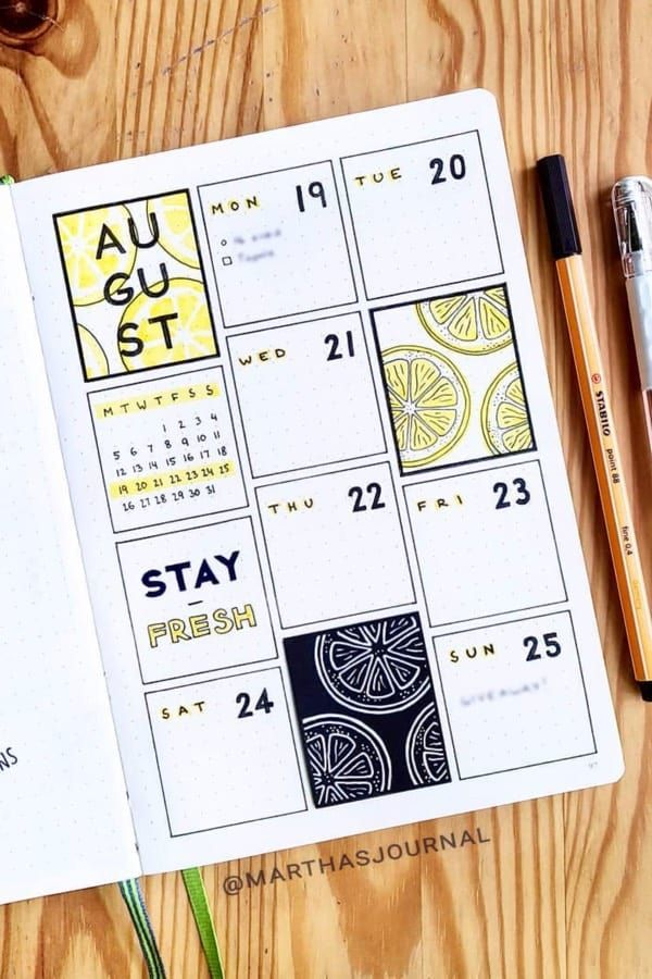 30+ Adorable Yellow Weekly Spread Ideas For Bujo Addicts - Crazy Laura
