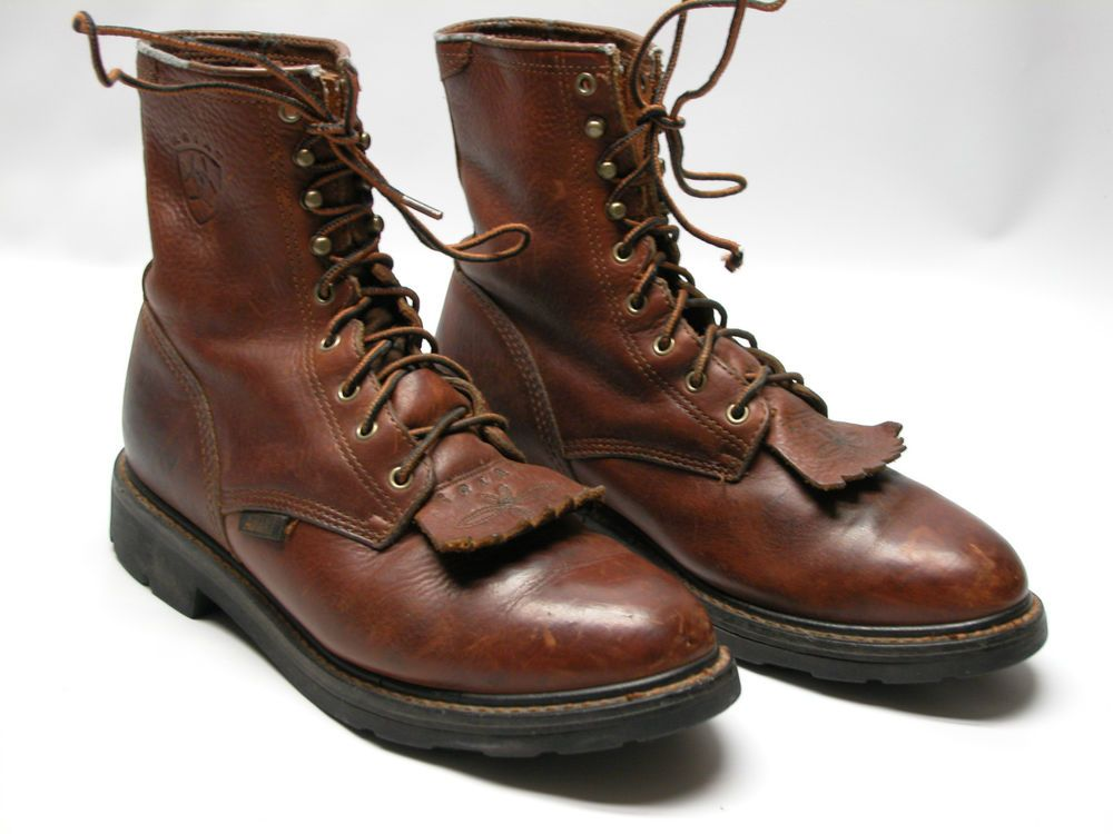 7285e4d8a99cf ARIAT 37180 Mens Brown Lace Up Pebbled Leather Work Boots Soft Toe Sz 8.5 D  #Ariat #AnkleBoots