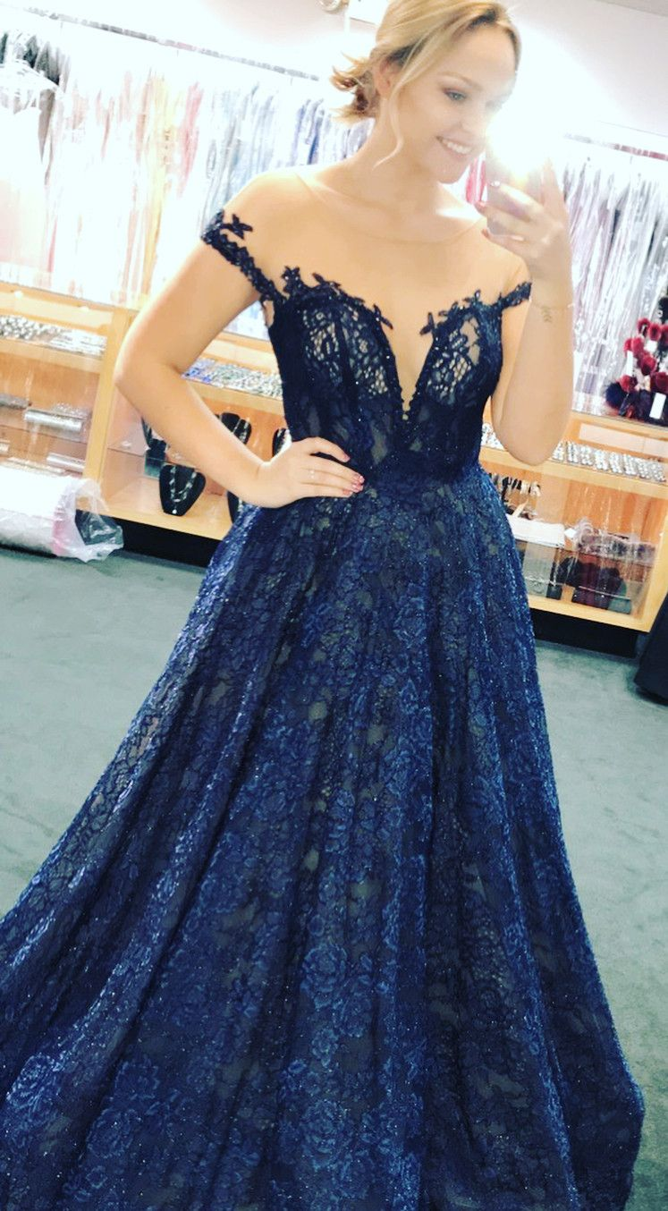 Appliques lace evening dress sexy blue long prom dress formal prom