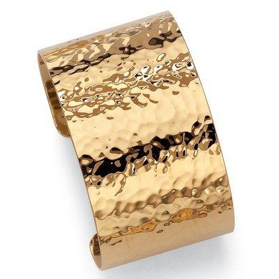 Gold Plated Hammered-Style Cuff Bracelet Palm Beach Jewelry. $29.20