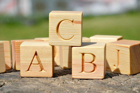 2 Large 26 Wooden Alphabet Block English Abc Blocks Back To School