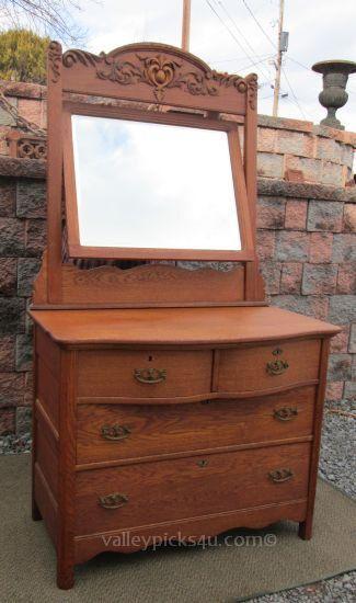 Selling Antique Victorian Oak Bedroom Dresser w Swivel by picks4u ...