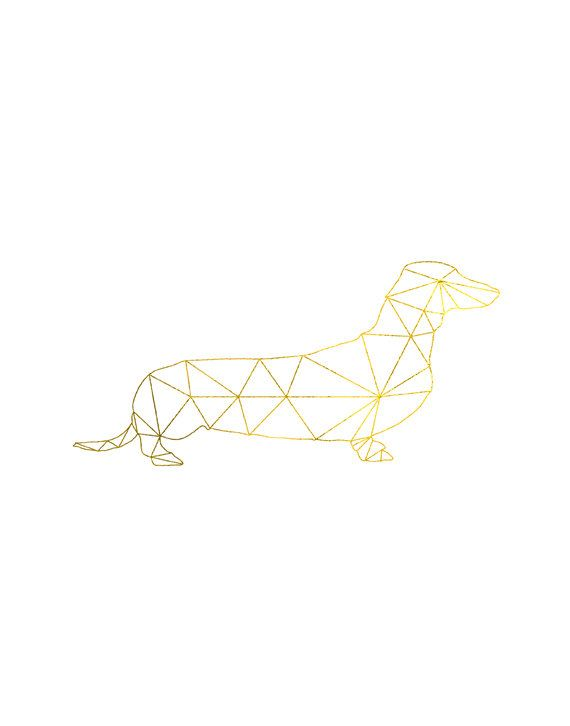 Gold Wiener Dog Print Geometric Print Abstract By