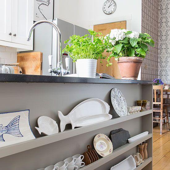 Kitchen island shelving | Light and entertaining kitchen | PHOTO GALLERY | Beautiful Kitchens | Housetohome.co.uk