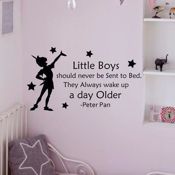 Wall Decals Quotes   Peter Pan Little Boys Should Never Be Sent To Bed  Wall