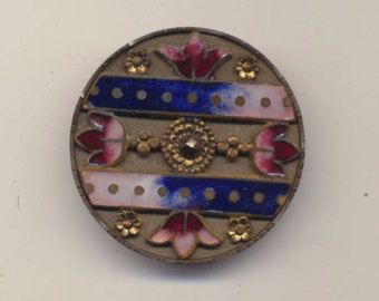 Large Antique Steel Cup Button With Enamel Center