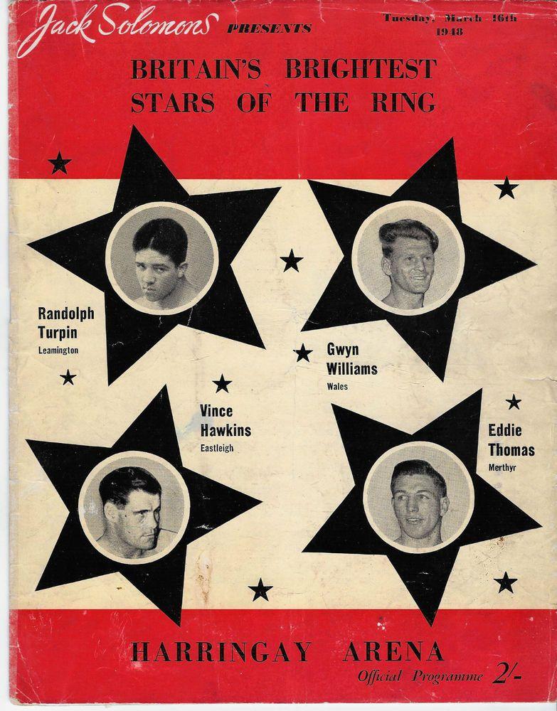 Jack Solomons Britain Boxing Program Mar16 1948 Harrington