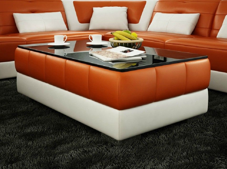 modern bonded leather coffee table furniture in white - $582.9