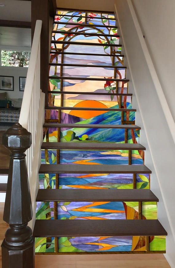 Best Stained Glass Sunrise Stair Art Stained Glass Stairway 640 x 480