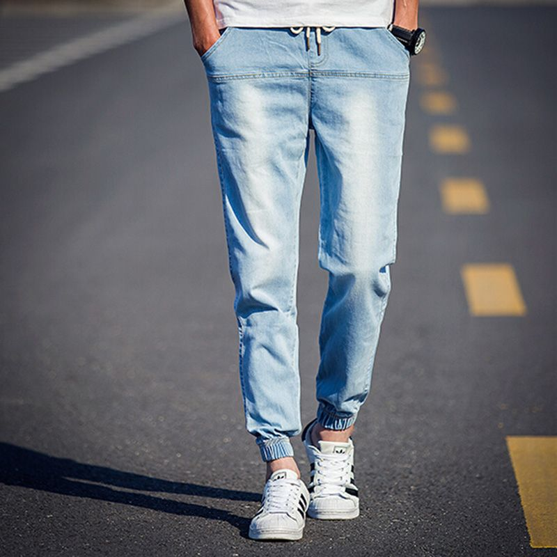2016 Brand Clothing Mens Jeans Elastic Waist Light Blue