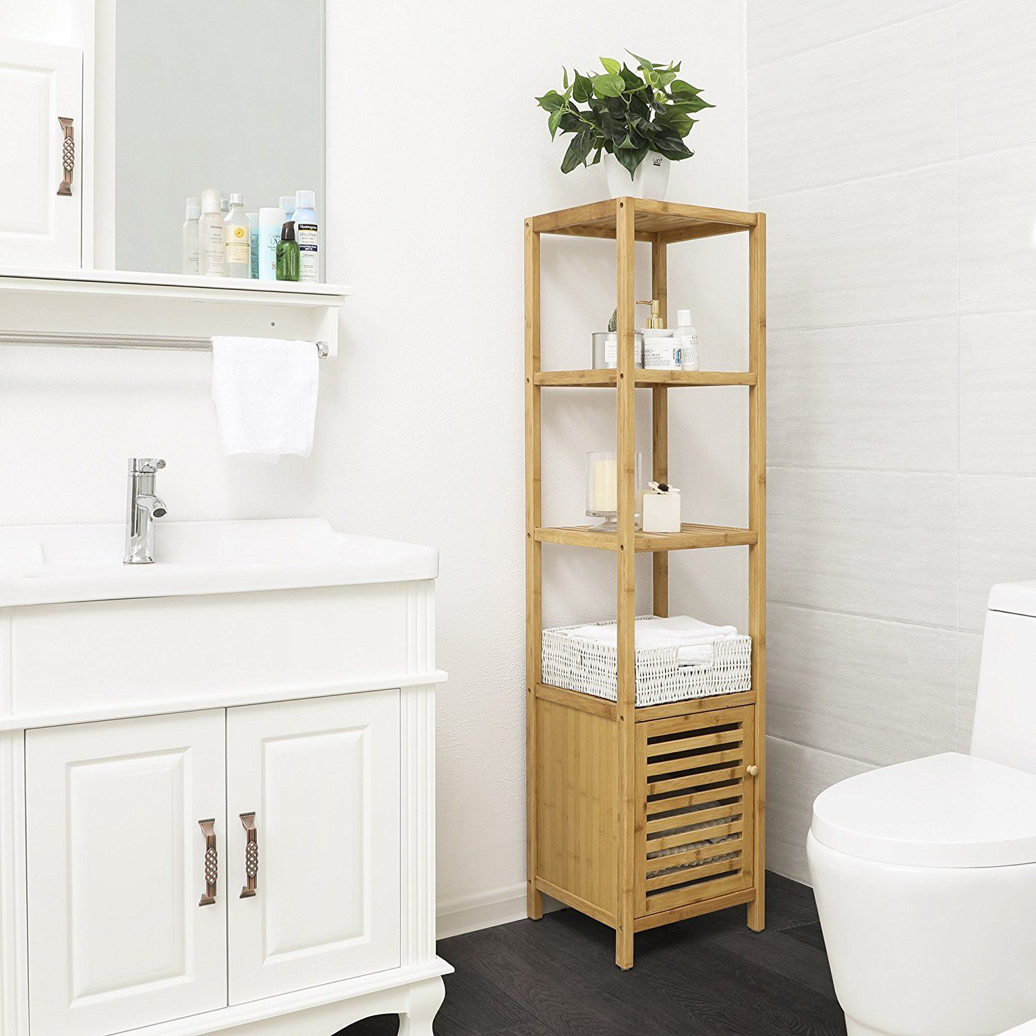 Amazon.com: SONGMICS 4 Tiers Bamboo Floor Cabinet Storage ...