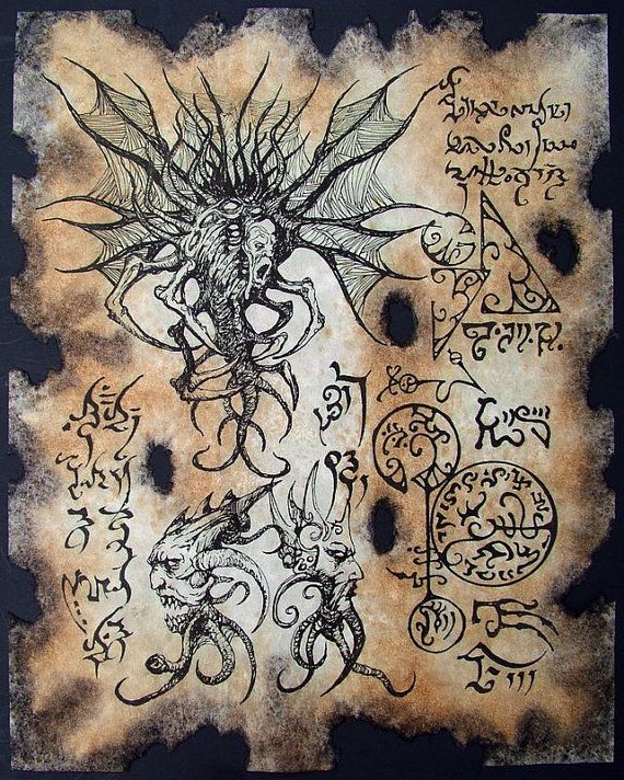 Cthulhu larp Haunter of the Dark Necronomicon page Scroll Magick occult witch