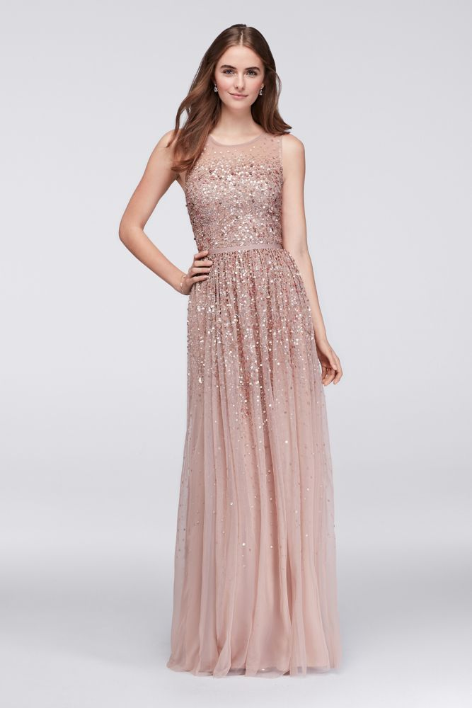 92e4c952 Scattered Sequin Illusion Bodice Tulle Gown Style JP2817131 | Wedding in  2019 | Rose gold wedding dress, Rose gold quinceanera dresses, Bridesmaid  dresses