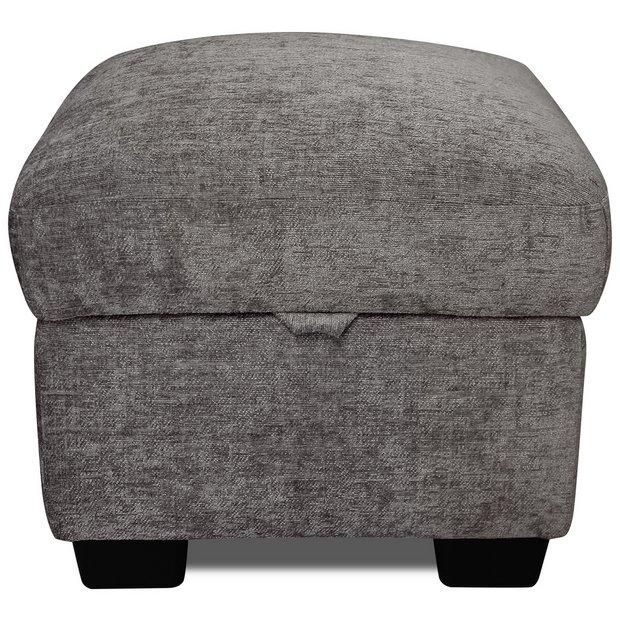 Buy Argos Home Tammy Fabric Storage Footstool Charcoal