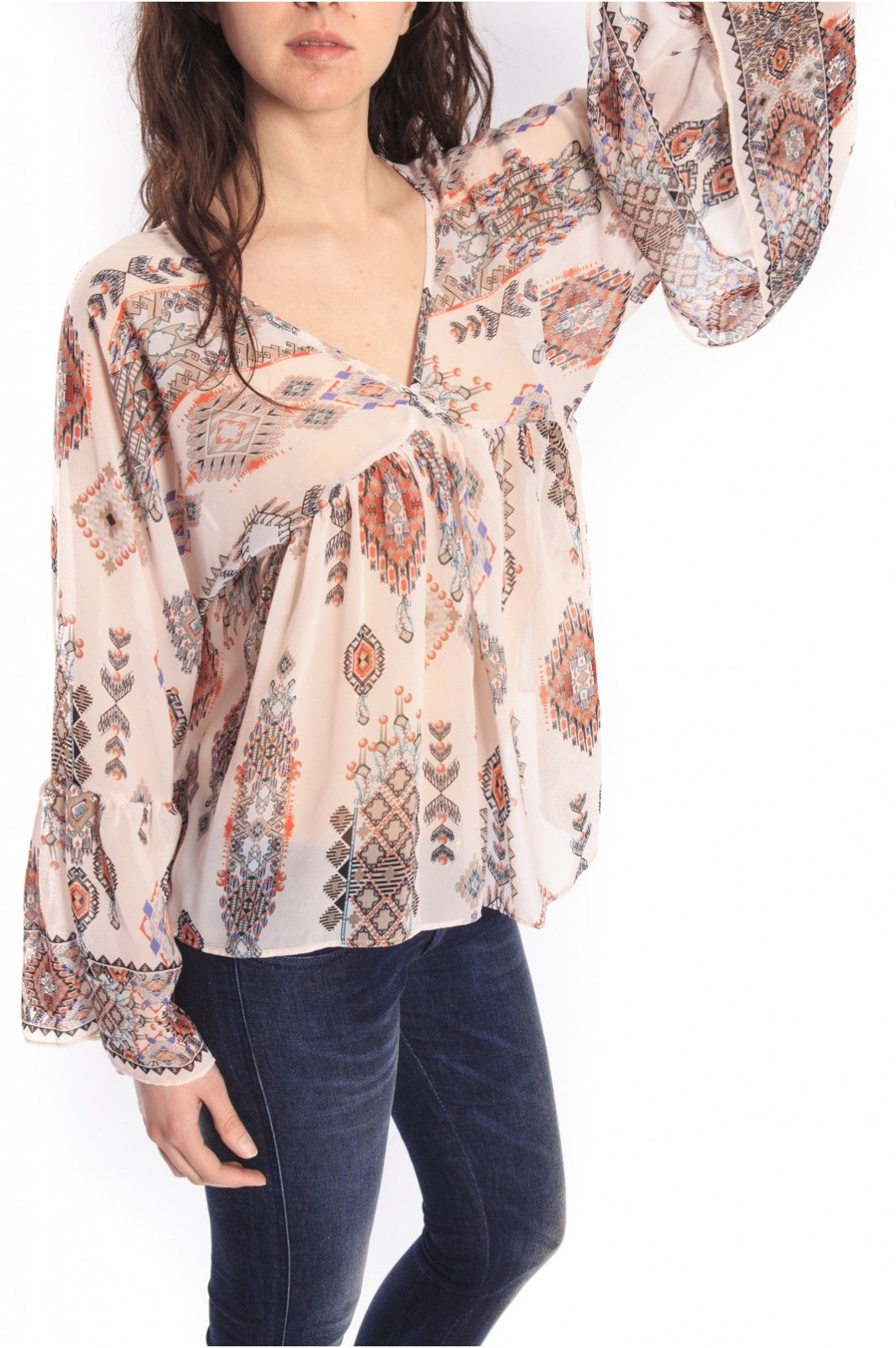 Denny Rose Print blouse with knitted fantasy Art 46DR41015
