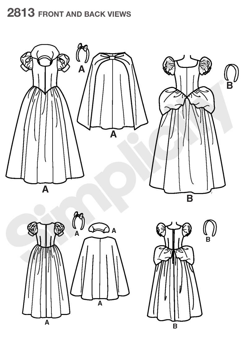 Womens Snow White and Cinderella Costume pattern 2813 Simplicity ...