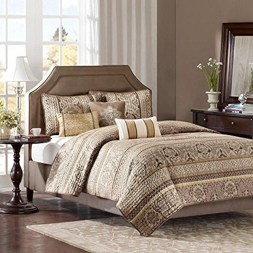 5 Piece Brown Gold Luxury Jacquard Stripes Pattern Coverlet King