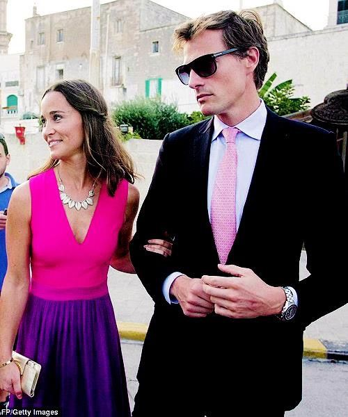 Pippa Middleton and her boyfriend Nico Jackson attend a wedding in Italy, September 19th 2014.