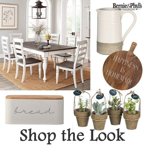 Farmhouse style dining set and accessories to create the look Wide