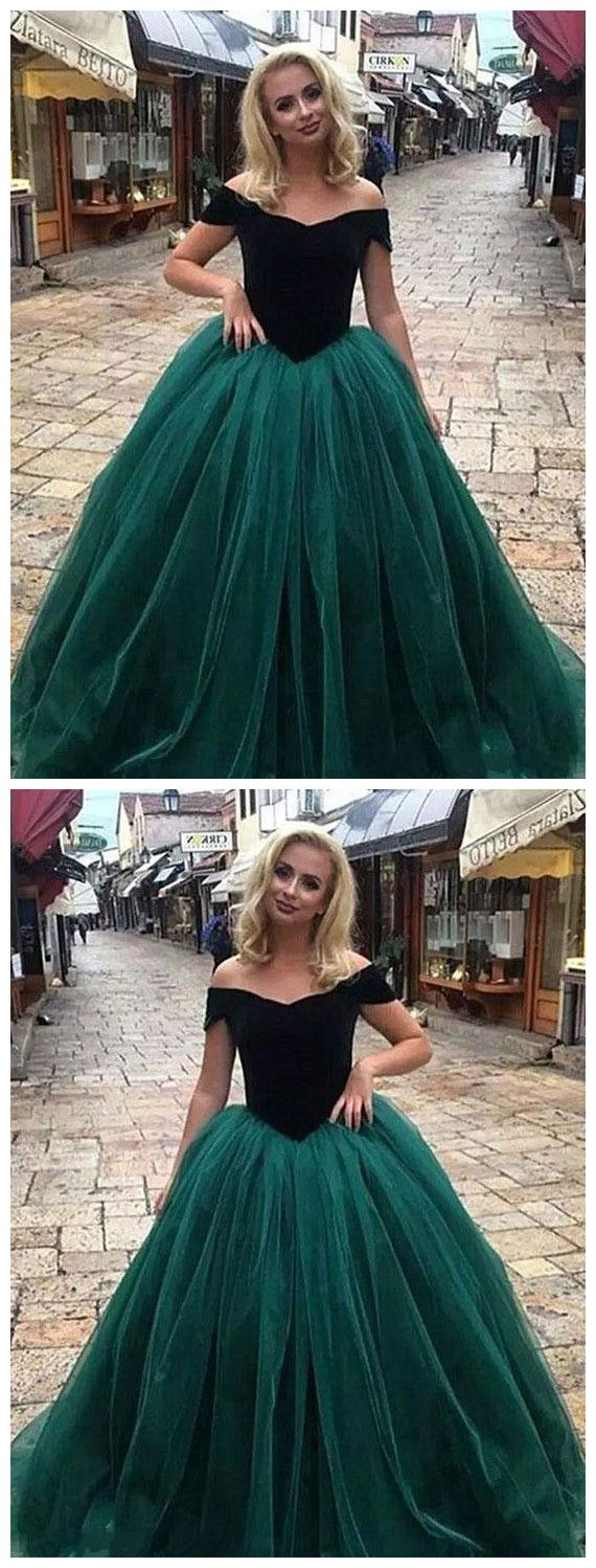 Dark green ball gowns prom dress offtheshoulder simple cheap prom