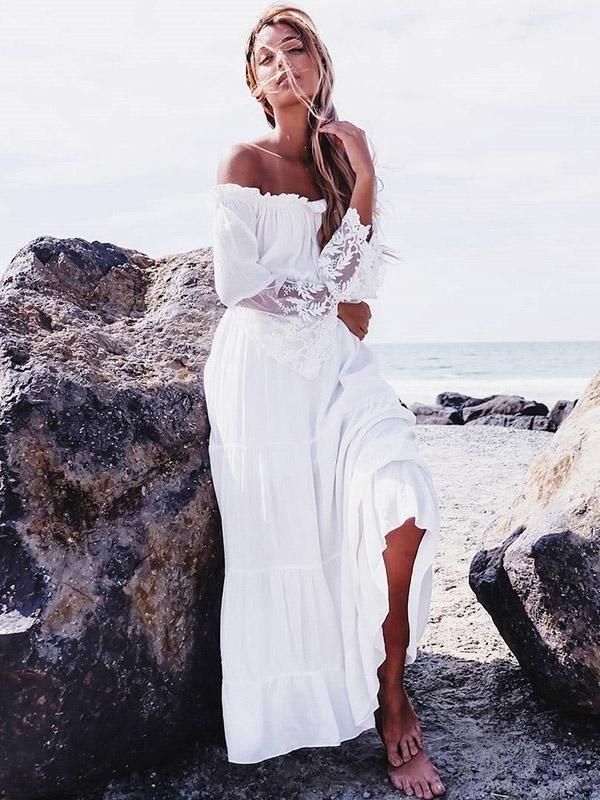 efab0e6343c4 Sexy Lace Split-joint Off-the-shoulder Flared Sleeves Maxi Dress