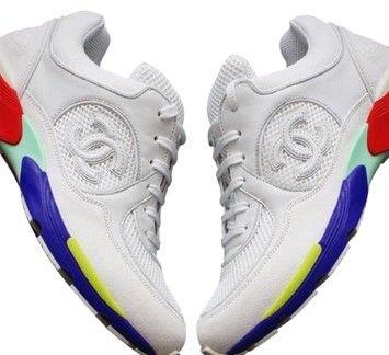 3f3ea44a474 Chanel Nib 16c Leather / Mesh Multi-color Sole Cc Trainer Sneakers Eu36  White Athletic Shoes