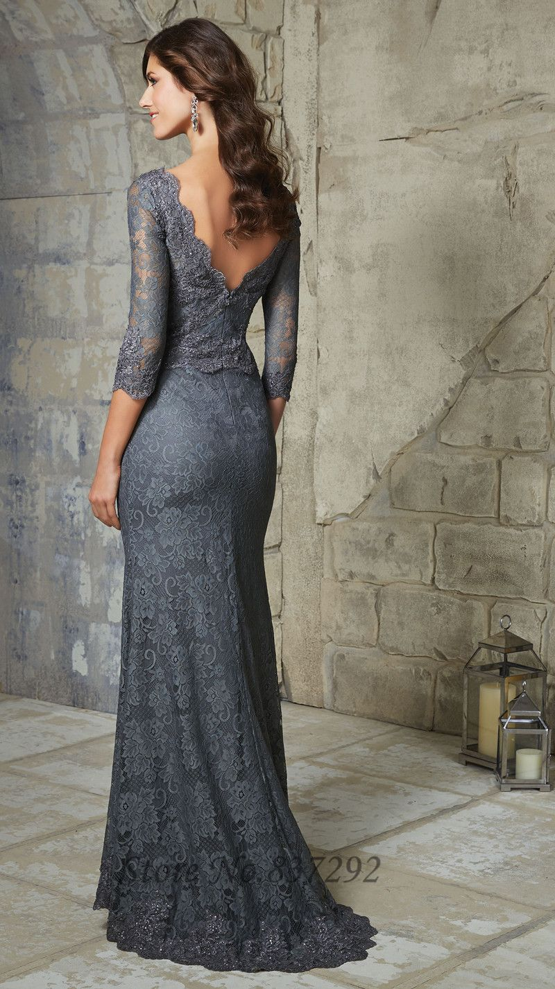 Grey navy llue plus size mother of the bride dresses lace mermaid