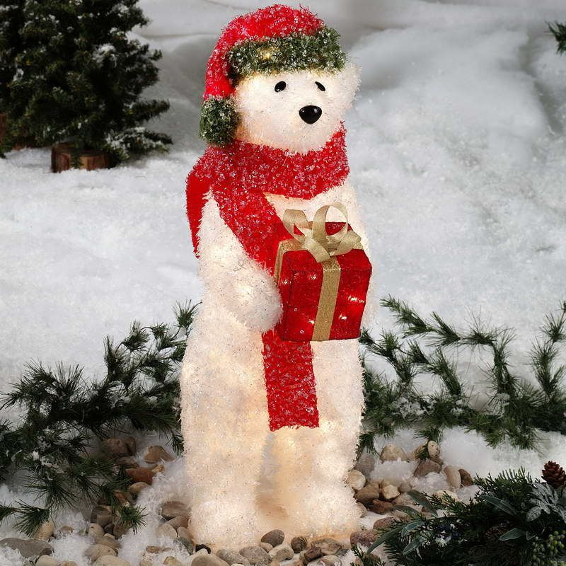 27 cozy ice christmas decorations for outdoors outdoor lighted outdoor lighted christmas decoration ideas with stuffed dog mozeypictures Choice Image