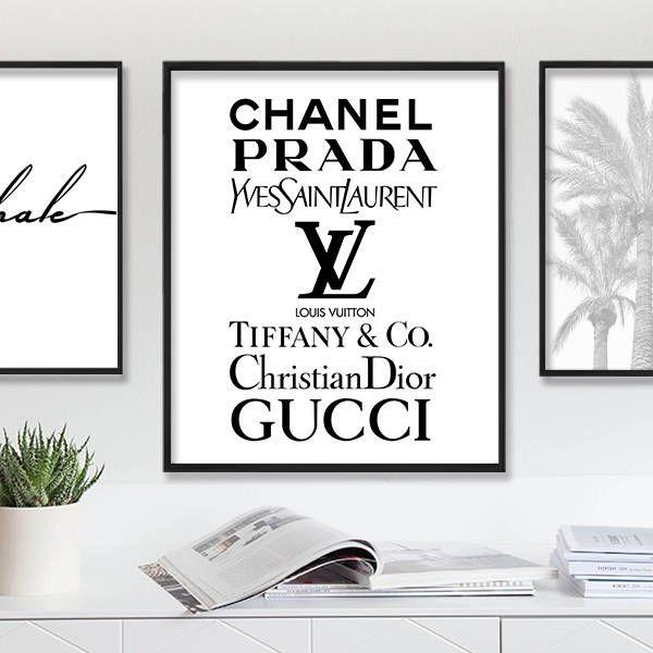 Fashion Wall Art Print Download Louis Vuitton Print Prada Fashion Poster  Tiffany Logo Chanel Sign YSL