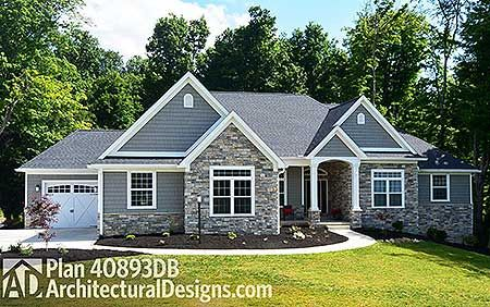 Plan 40893DB Kitchen with Two Islands Ranch house plans Ranch