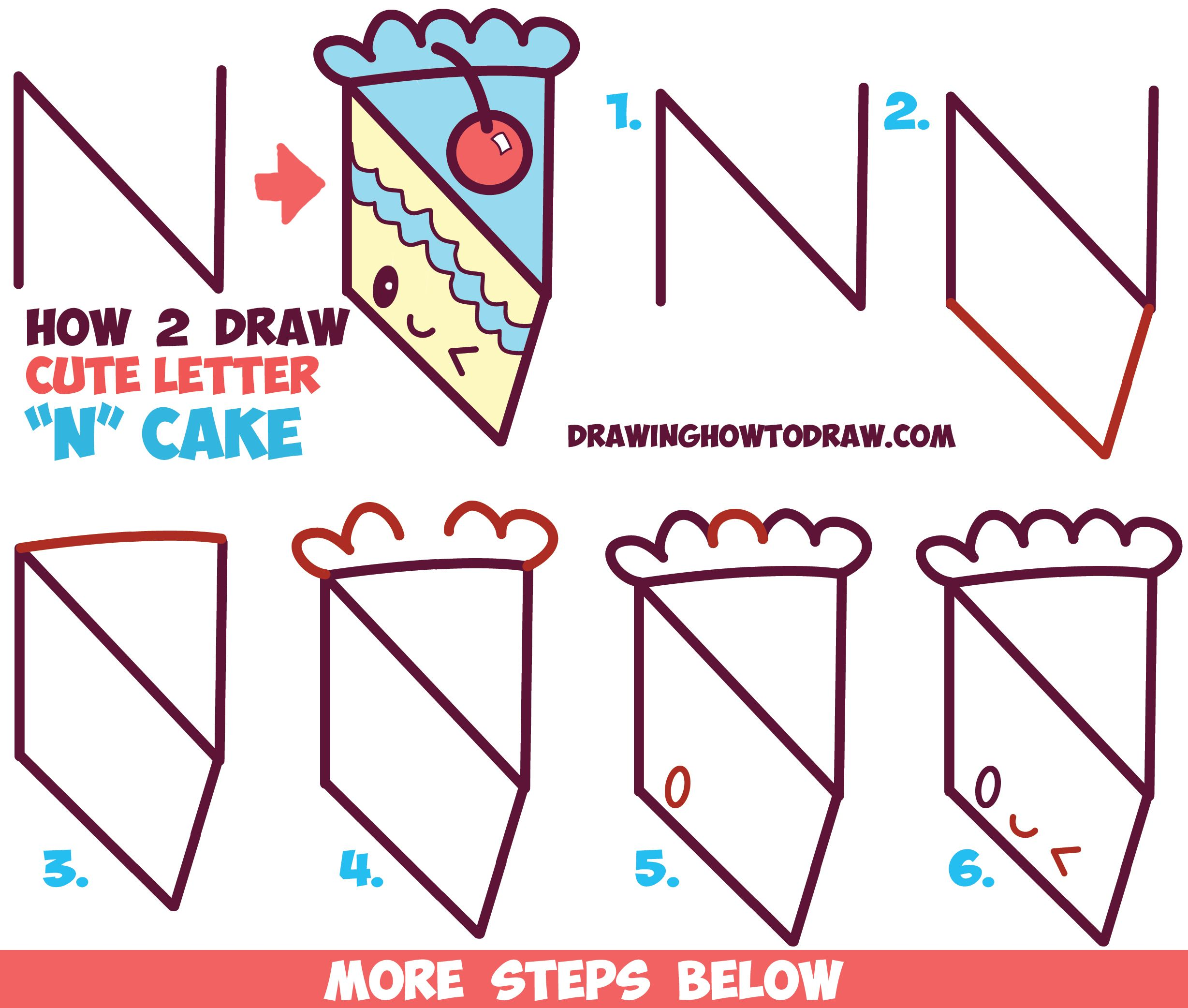 How to Draw a Cute Kawaii Piece of Cake with a Face on it from the ... for Drawing Cake Step Step  70ref