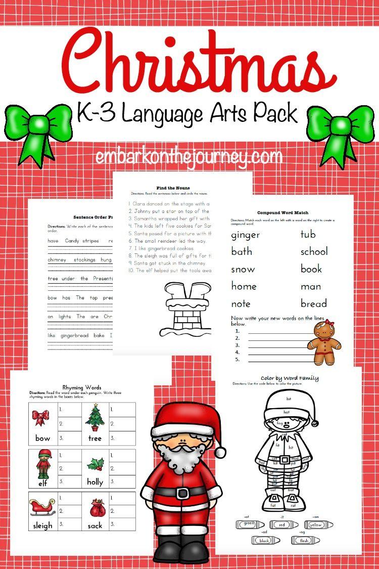 free christmas language arts pack for k 3 christmas language arts language arts and kids learning. Black Bedroom Furniture Sets. Home Design Ideas