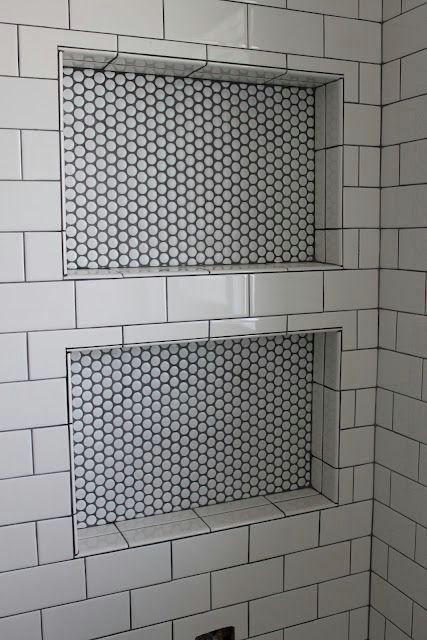 Subway Tile Penny Round Dark Gray Grout Vintage Tile