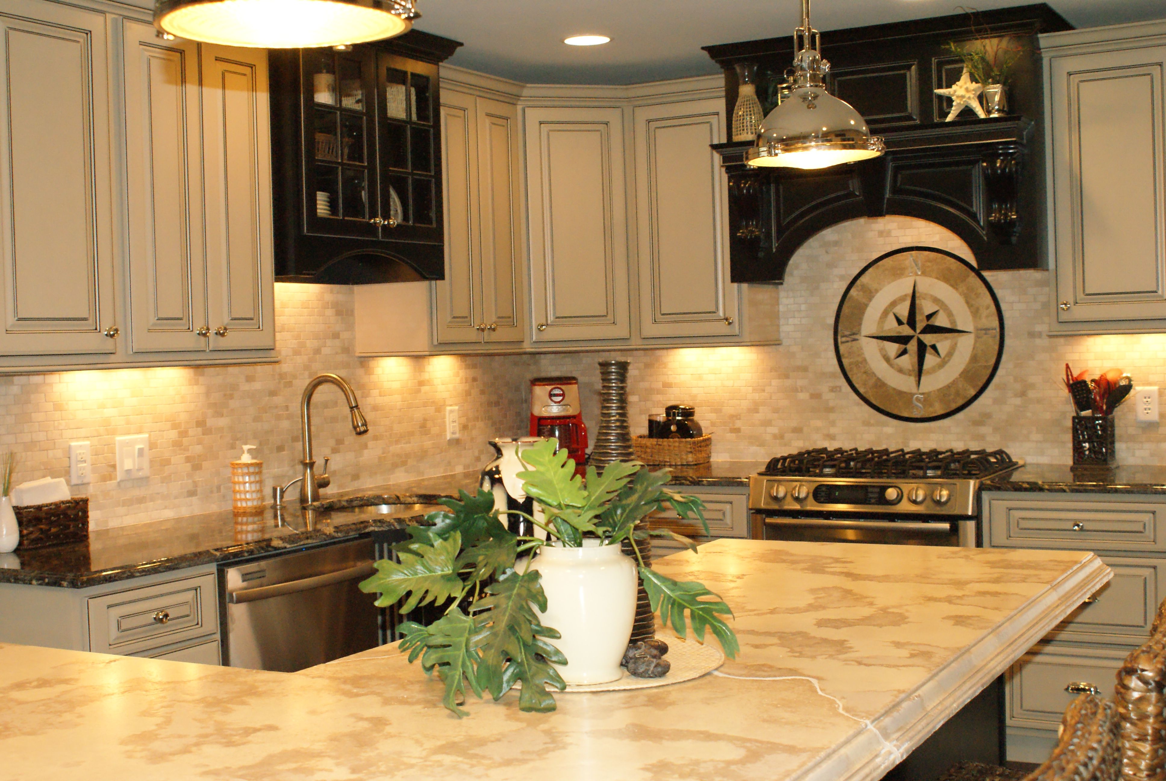 Faux Finish Kitchen Cabinets White Wooden Colored And ...