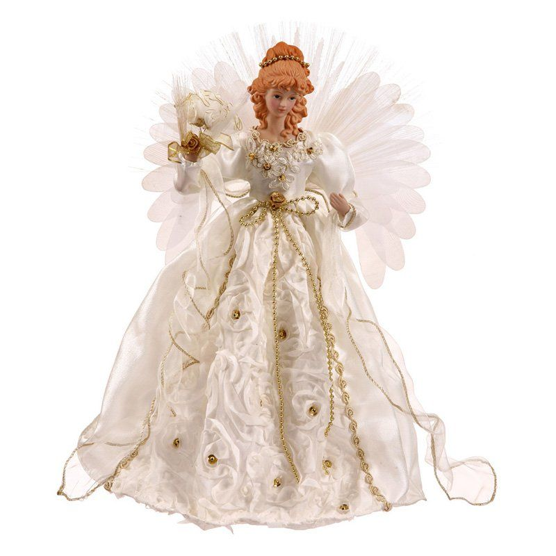 Vickerman 18 in. White and Gold Angel Fiber Optic Wings -