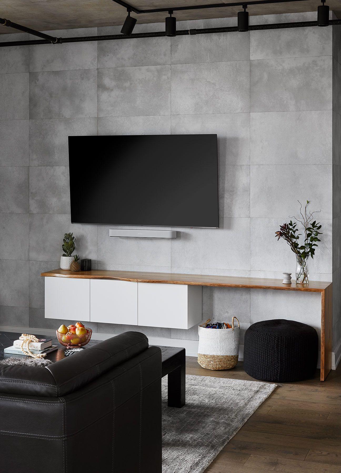 Concrete Wallpaper Media Wall Devon Grace Interiors In 2020 Condo Living Room Concrete Walls Bedroom Concrete Walls Interior
