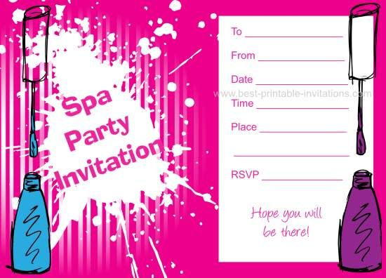 Spa Party Invitations Free printable kids birthday invites from – Free Printable Party Invitations for Kids Birthday Parties