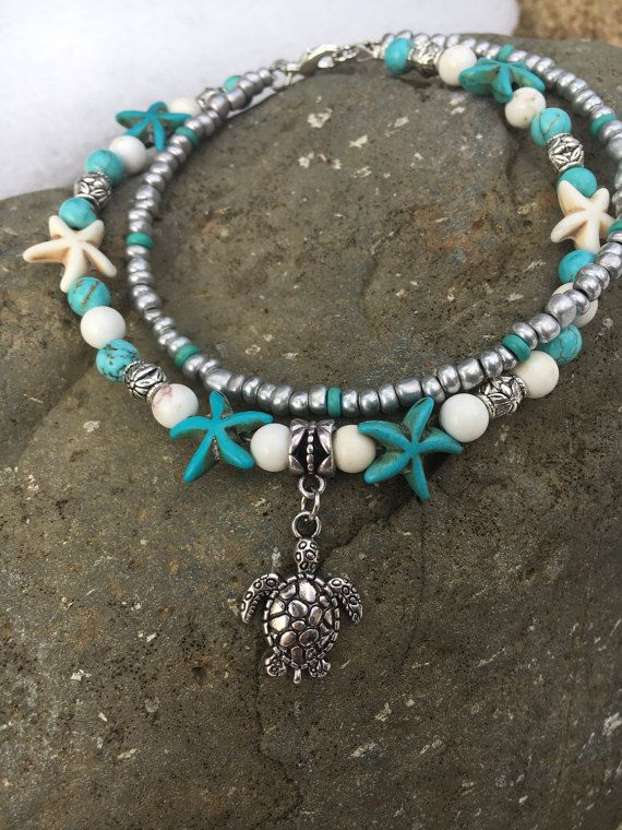 Beachcombers Coastal Life Beaded Foot Thong Anklet
