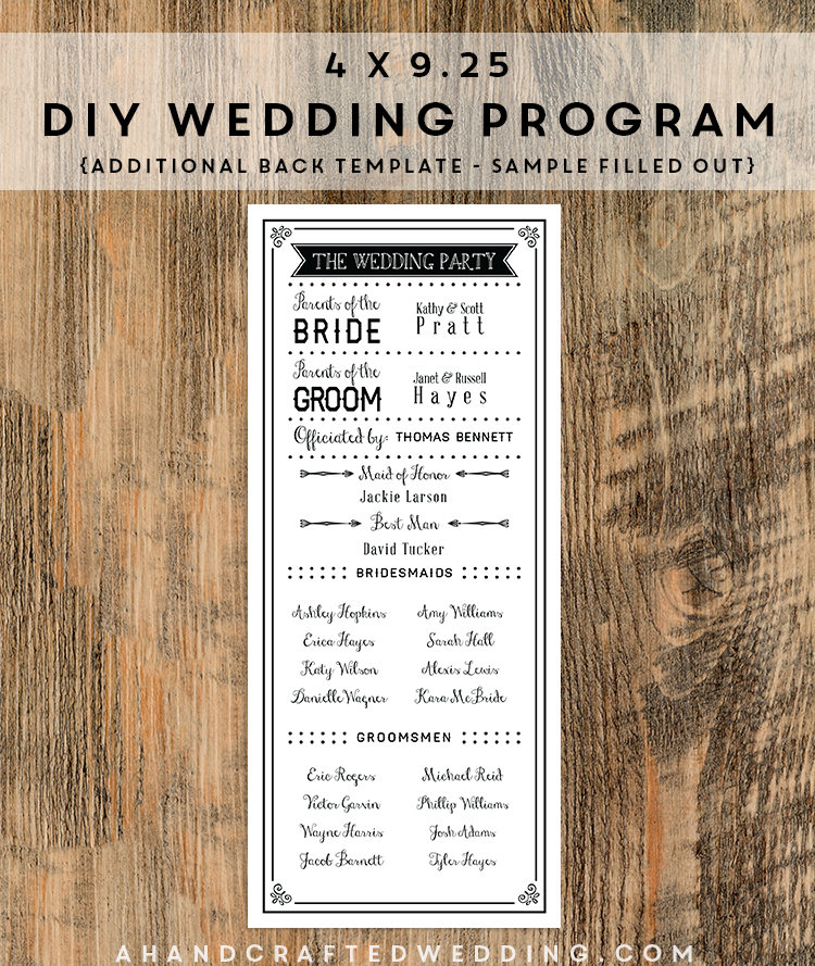 black diy wedding program template ahandcraftedweddingcom diy wedding free program templates